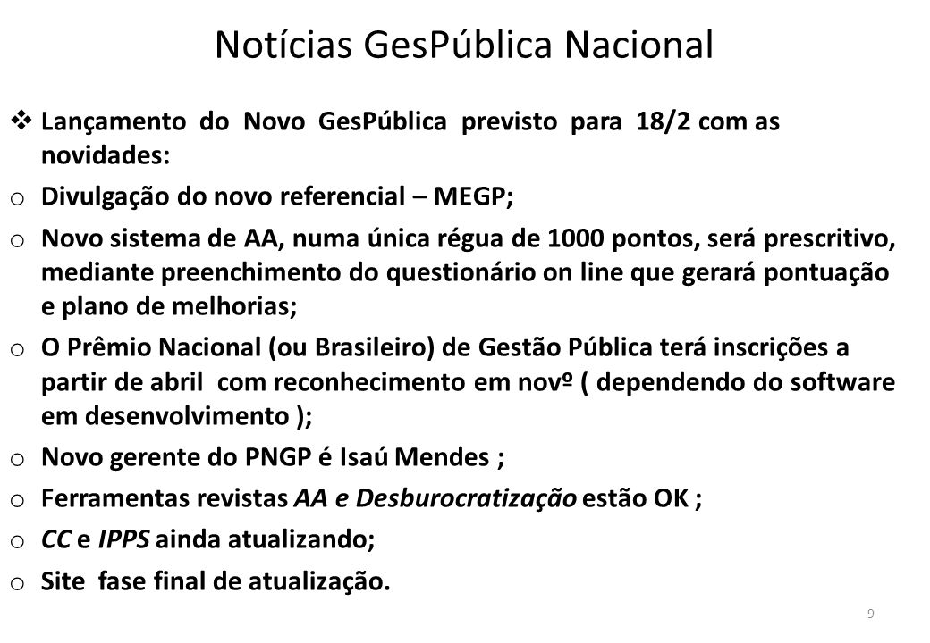 Notícias GesPública Nacional