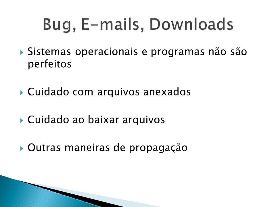 Bug, E-mails, Downloads Sistemas operacionais e programas não são perfeitos. Cuidado com arquivos anexados.