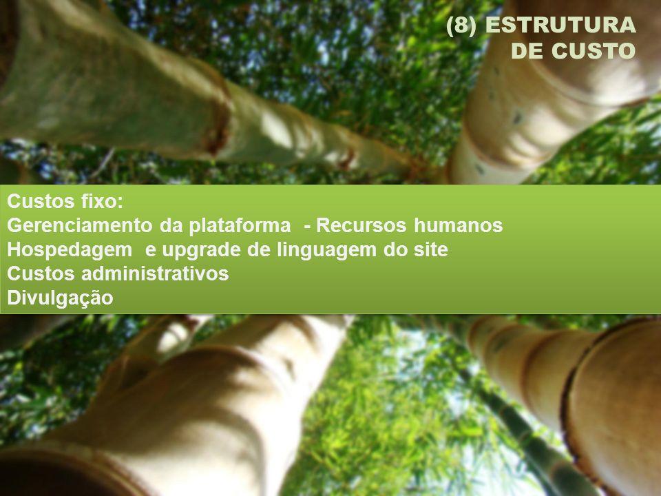 (8) ESTRUTURA DE CUSTO Custos fixo: