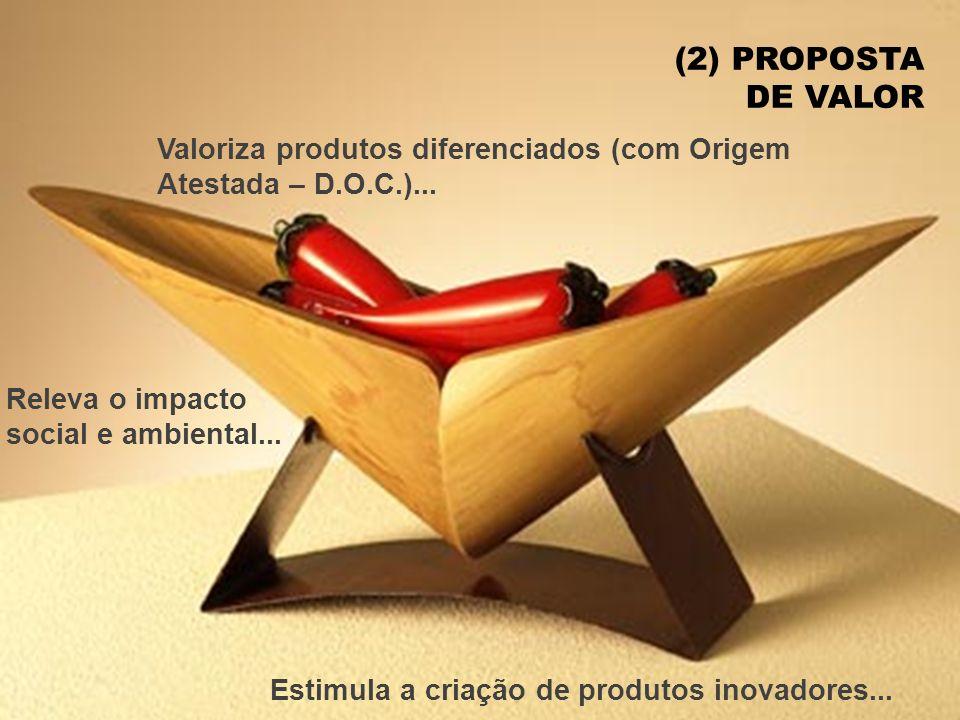 (2) PROPOSTA DE VALOR Valoriza produtos diferenciados (com Origem