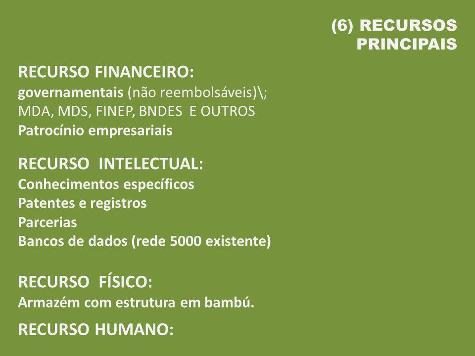 RECURSO FINANCEIRO: governamentais (não reembolsáveis)\;