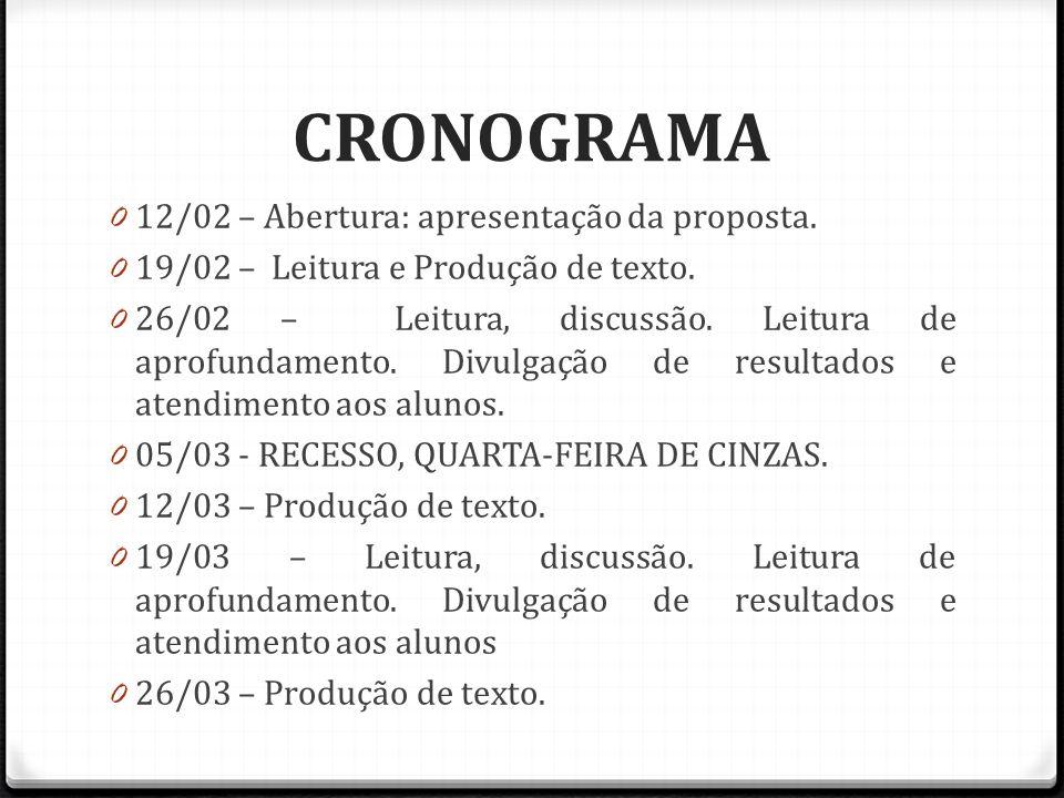 CRONOGRAMA 12/02 – Abertura: apresentação da proposta.