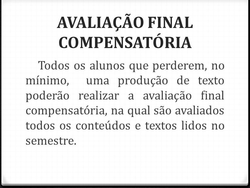 AVALIAÇÃO FINAL COMPENSATÓRIA