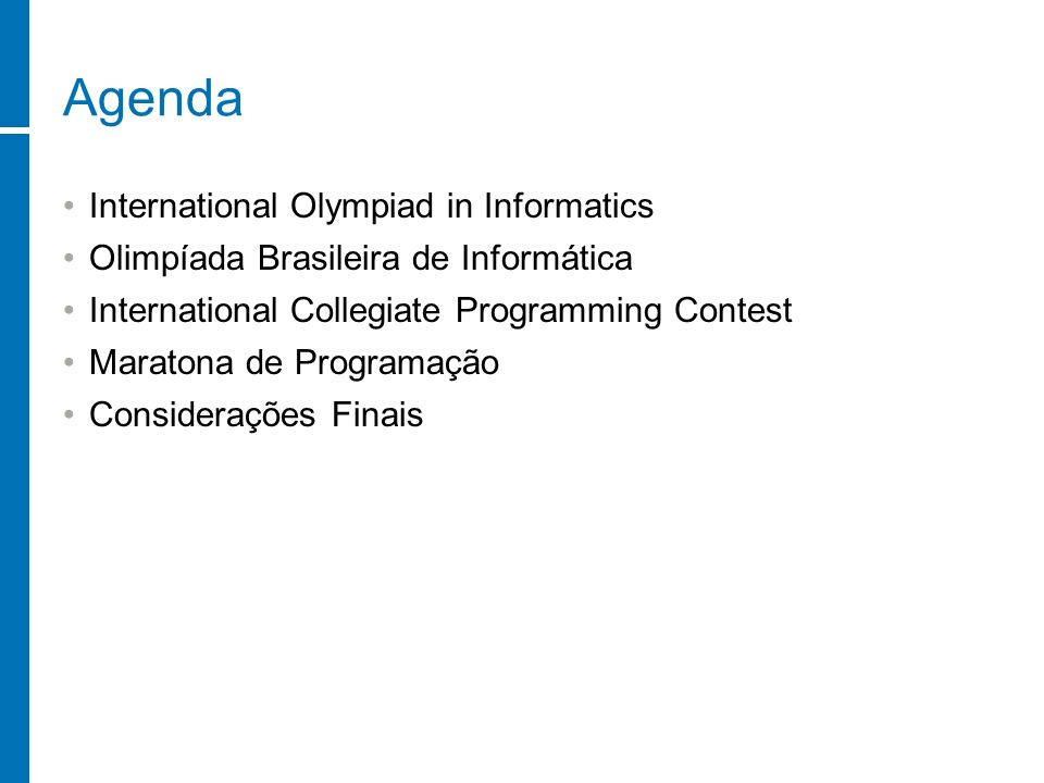 Agenda International Olympiad in Informatics