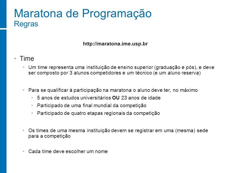 Maratona de Programação Regras