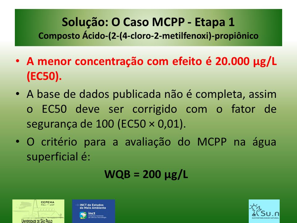 Solução: O Caso MCPP - Etapa 1 Composto Ácido-(2-(4-cloro-2-metilfenoxi)-propiônico