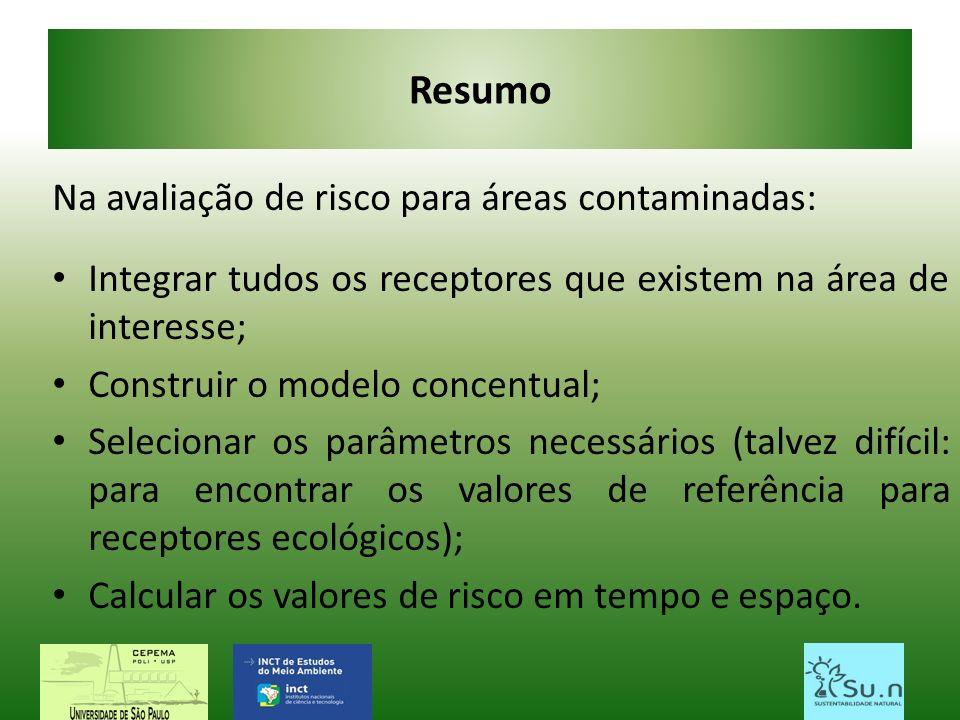 Resumo Na avaliação de risco para áreas contaminadas: