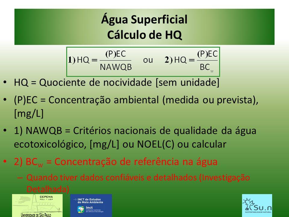 Água Superficial Cálculo de HQ