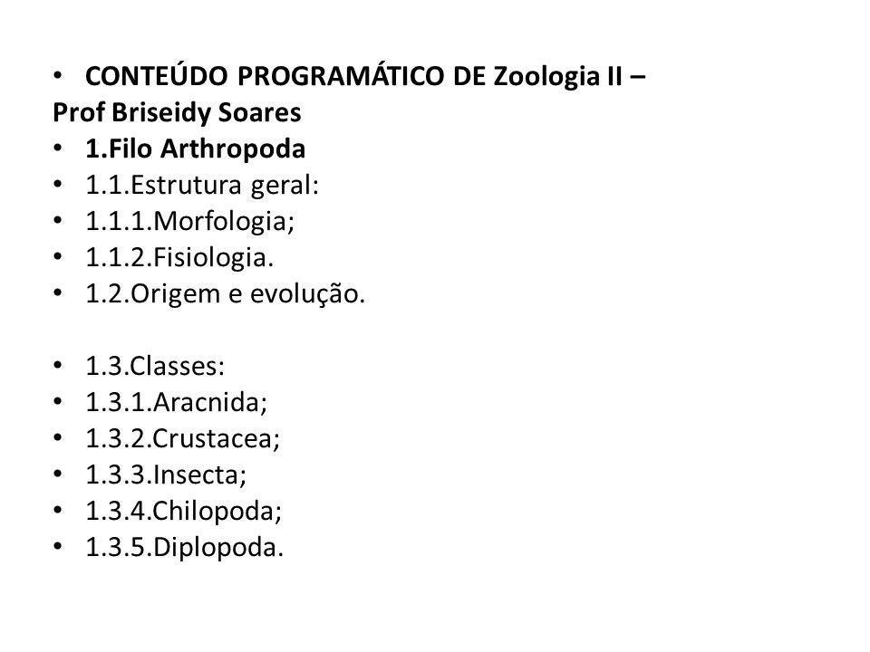 CONTEÚDO PROGRAMÁTICO DE Zoologia II –