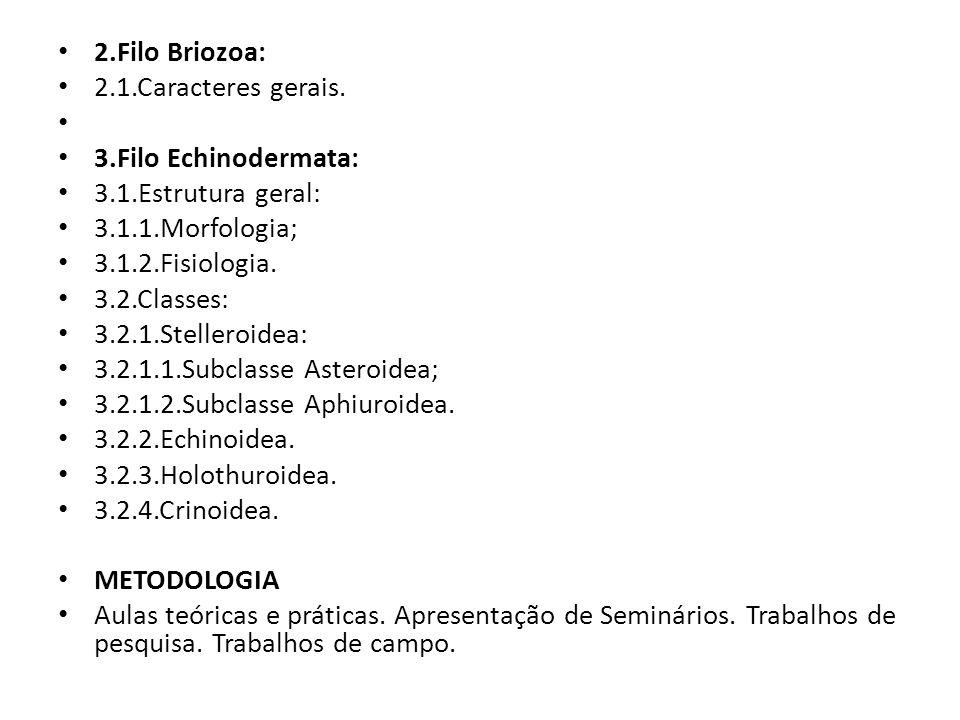 2.Filo Briozoa: 2.1.Caracteres gerais. 3.Filo Echinodermata: 3.1.Estrutura geral: 3.1.1.Morfologia;