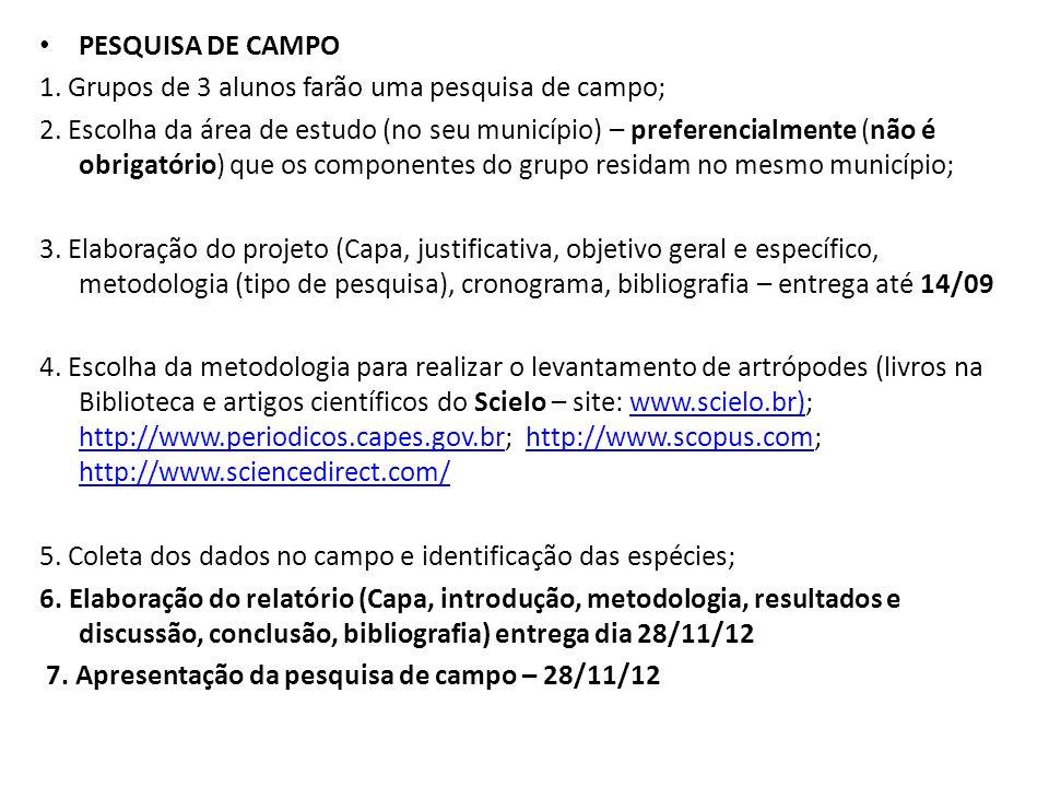 PESQUISA DE CAMPO 1. Grupos de 3 alunos farão uma pesquisa de campo;