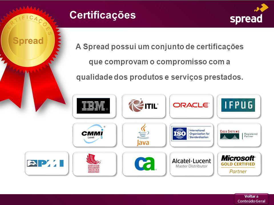 Certificações A Spread possui um conjunto de certificações