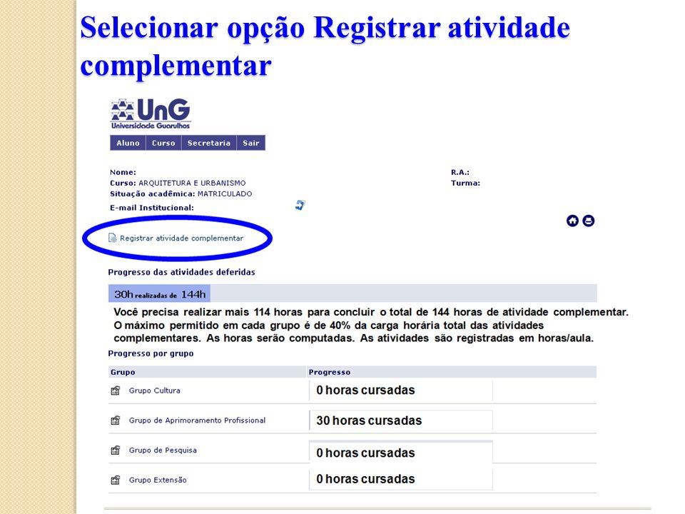 Selecionar opção Registrar atividade complementar