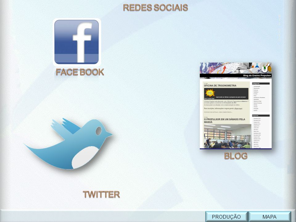 REDES SOCIAIS SITE_ETC FACE BOOK BLOG TWITTER PRODUÇÃO MAPA