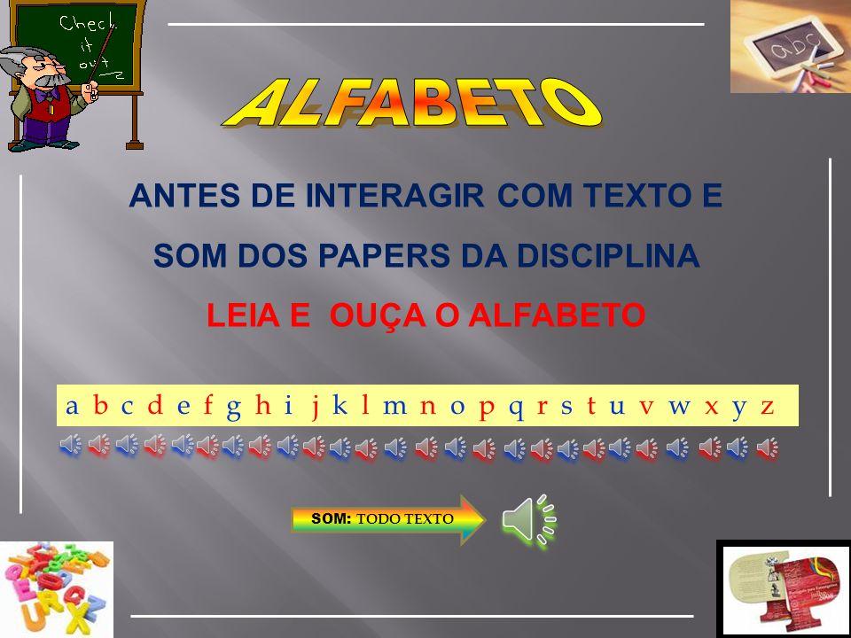 ANTES DE INTERAGIR COM TEXTO E SOM DOS PAPERS DA DISCIPLINA