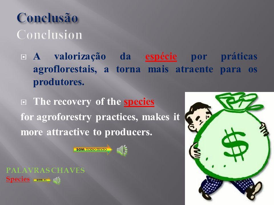 Conclusão Conclusion A valorização da espécie por práticas agroflorestais, a torna mais atraente para os produtores.