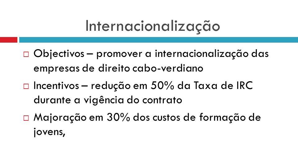 Internacionalização Objectivos – promover a internacionalização das empresas de direito cabo-verdiano.