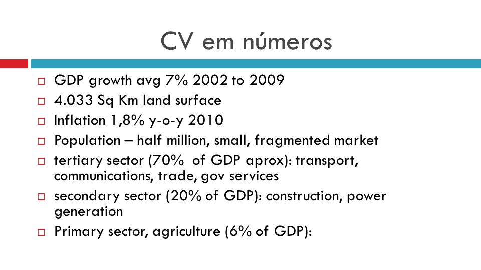 CV em números GDP growth avg 7% 2002 to 2009 4.033 Sq Km land surface