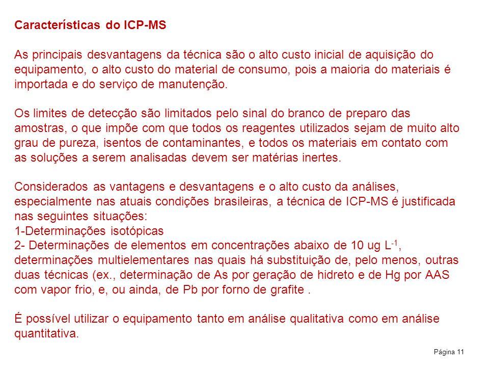 Características do ICP-MS As principais desvantagens da técnica são o alto custo inicial de aquisição do equipamento, o alto custo do material de consumo, pois a maioria do materiais é importada e do serviço de manutenção.