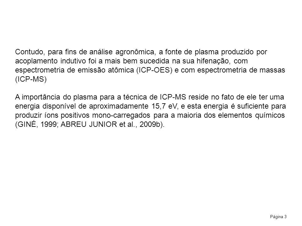 Contudo, para fins de análise agronômica, a fonte de plasma produzido por acoplamento indutivo foi a mais bem sucedida na sua hifenação, com espectrometria de emissão atômica (ICP-OES) e com espectrometria de massas (ICP-MS)