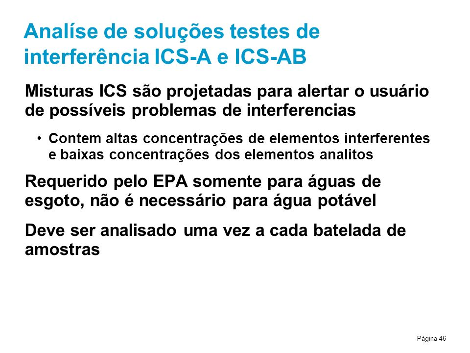 Analíse de soluções testes de interferência ICS-A e ICS-AB