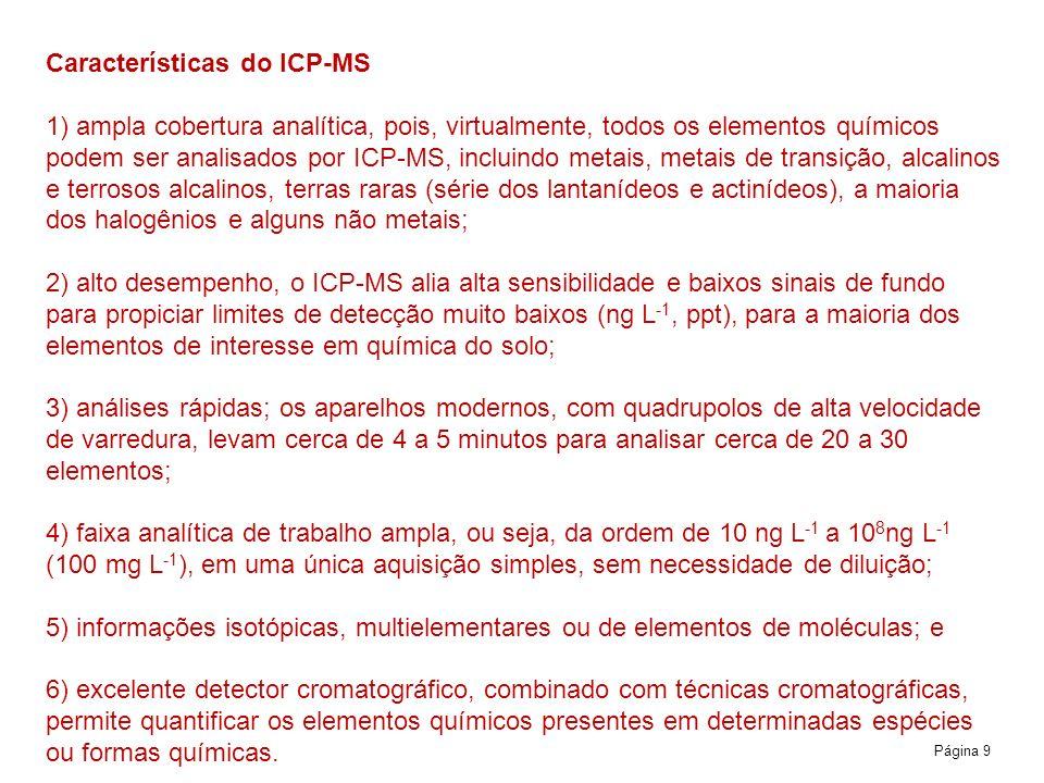 Características do ICP-MS 1) ampla cobertura analítica, pois, virtualmente, todos os elementos químicos podem ser analisados por ICP-MS, incluindo metais, metais de transição, alcalinos e terrosos alcalinos, terras raras (série dos lantanídeos e actinídeos), a maioria dos halogênios e alguns não metais; 2) alto desempenho, o ICP-MS alia alta sensibilidade e baixos sinais de fundo para propiciar limites de detecção muito baixos (ng L‑1, ppt), para a maioria dos elementos de interesse em química do solo; 3) análises rápidas; os aparelhos modernos, com quadrupolos de alta velocidade de varredura, levam cerca de 4 a 5 minutos para analisar cerca de 20 a 30 elementos; 4) faixa analítica de trabalho ampla, ou seja, da ordem de 10 ng L‑1 a 108ng L‑1 (100 mg L‑1), em uma única aquisição simples, sem necessidade de diluição; 5) informações isotópicas, multielementares ou de elementos de moléculas; e 6) excelente detector cromatográfico, combinado com técnicas cromatográficas, permite quantificar os elementos químicos presentes em determinadas espécies ou formas químicas.