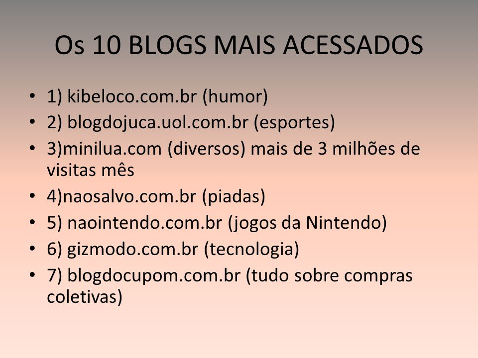 Os 10 BLOGS MAIS ACESSADOS