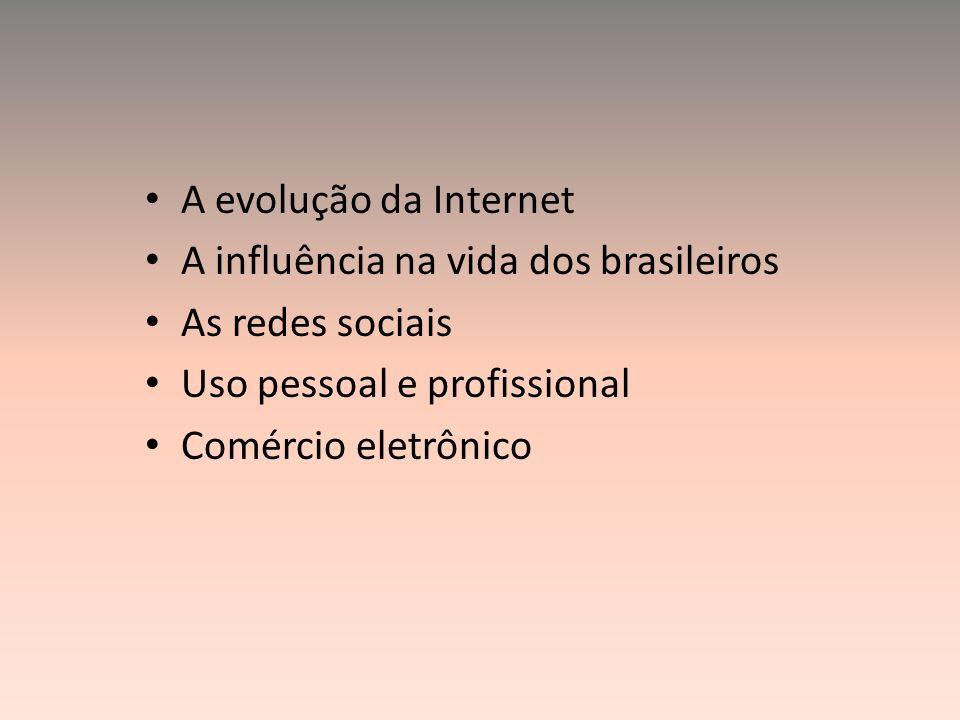 A evolução da Internet A influência na vida dos brasileiros. As redes sociais. Uso pessoal e profissional.