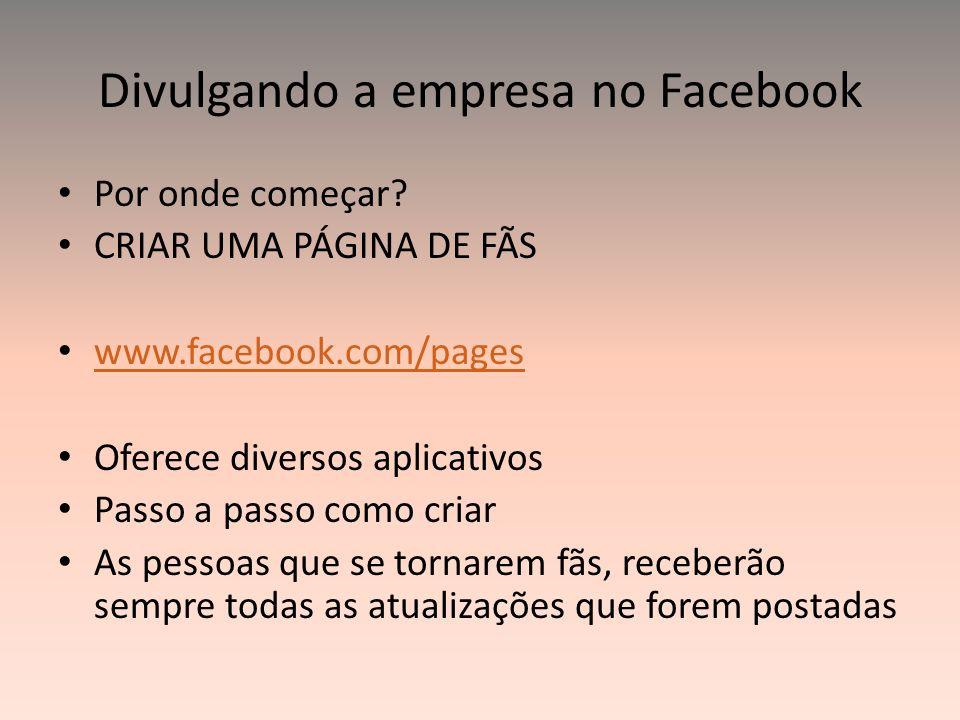Divulgando a empresa no Facebook