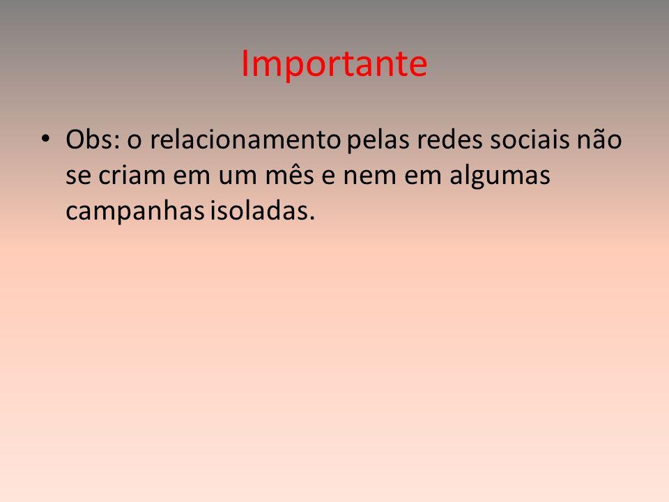 Importante Obs: o relacionamento pelas redes sociais não se criam em um mês e nem em algumas campanhas isoladas.