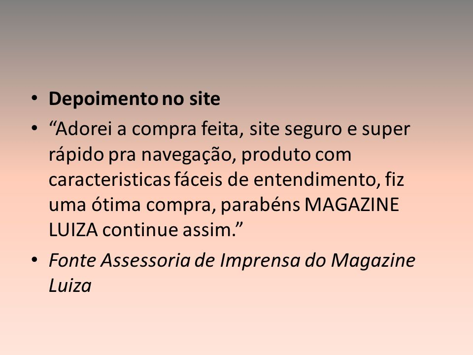 Depoimento no site