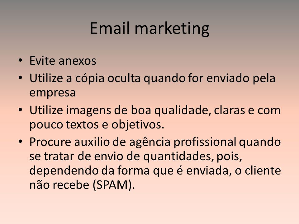 Email marketing Evite anexos