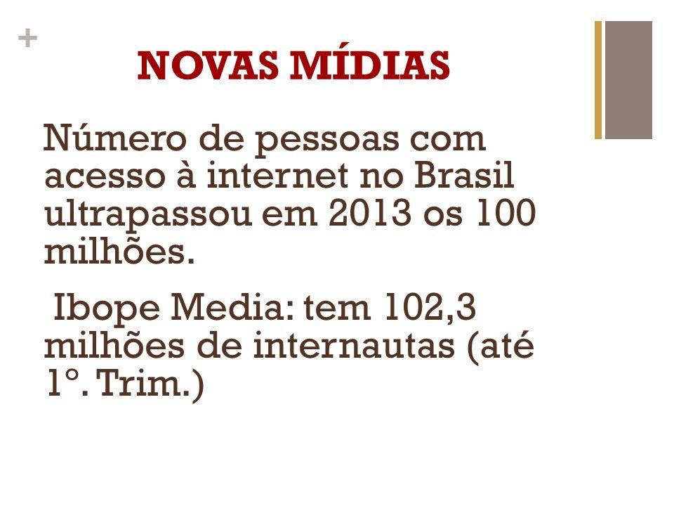 NOVAS MÍDIAS Número de pessoas com acesso à internet no Brasil ultrapassou em 2013 os 100 milhões.