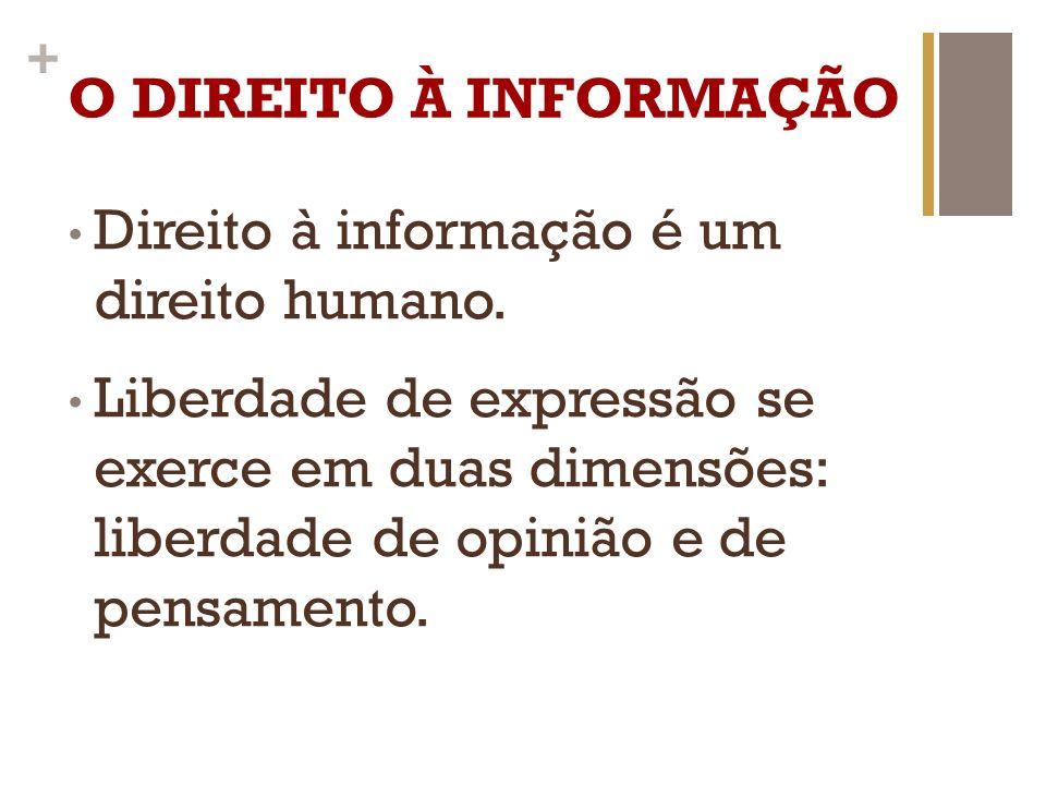 O DIREITO À INFORMAÇÃO Direito à informação é um direito humano.