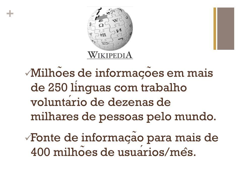 Milhões de informações em mais de 250 línguas com trabalho voluntário de dezenas de milhares de pessoas pelo mundo.