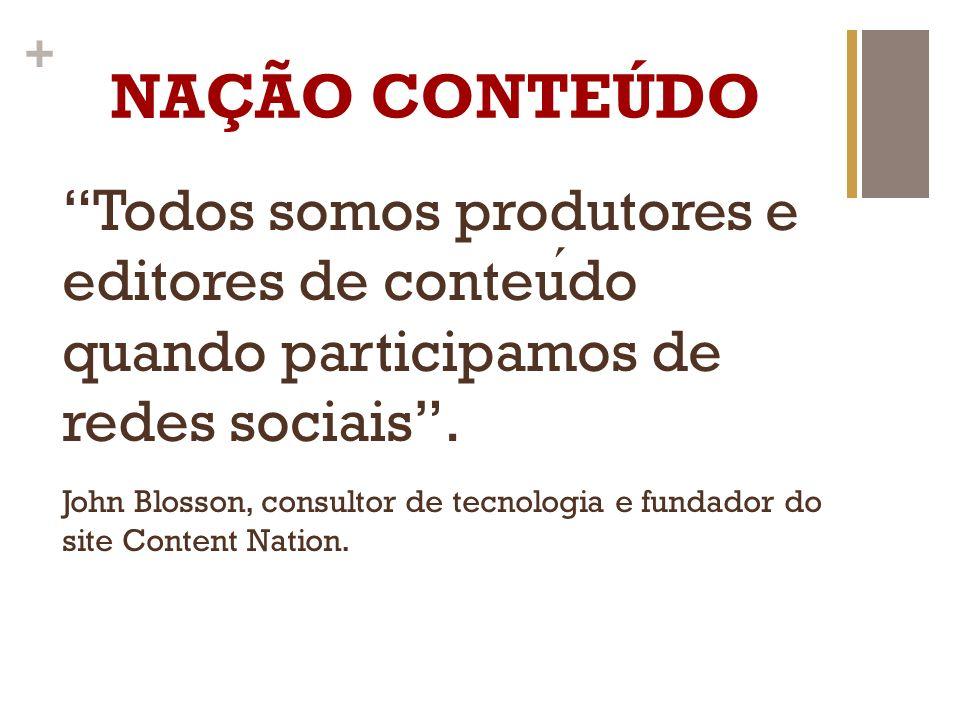NAÇÃO CONTEÚDO Todos somos produtores e editores de conteúdo quando participamos de redes sociais .