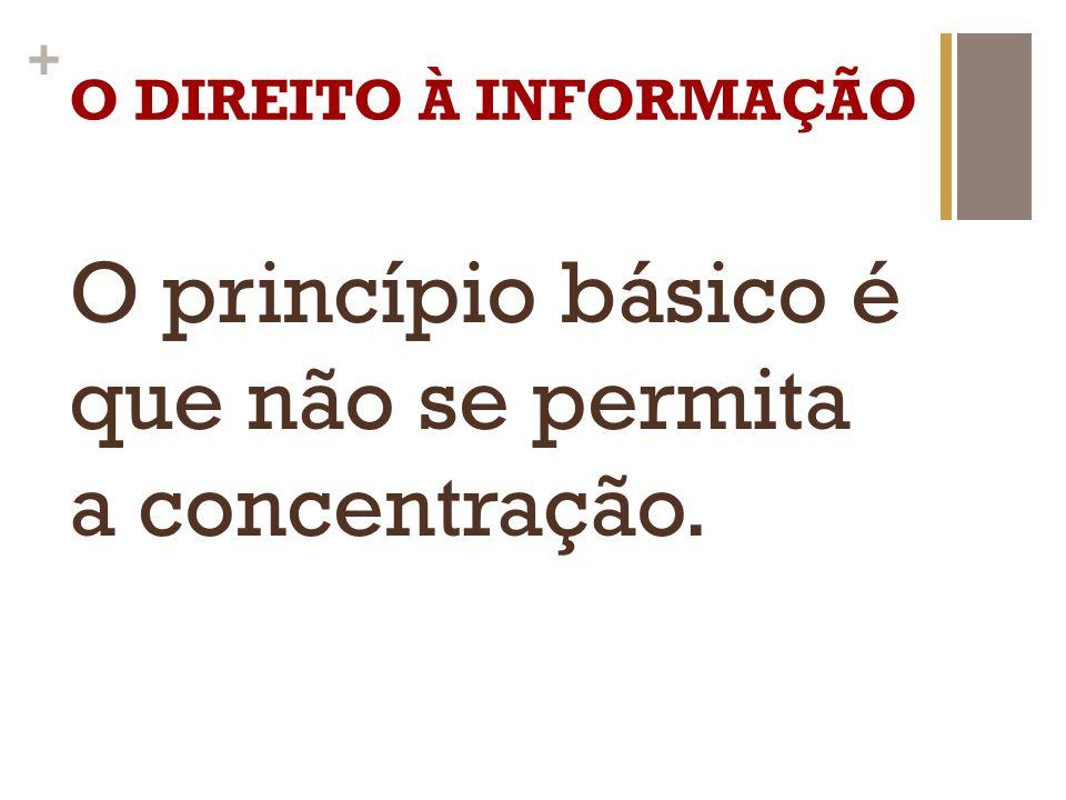 O princípio básico é que não se permita a concentração.