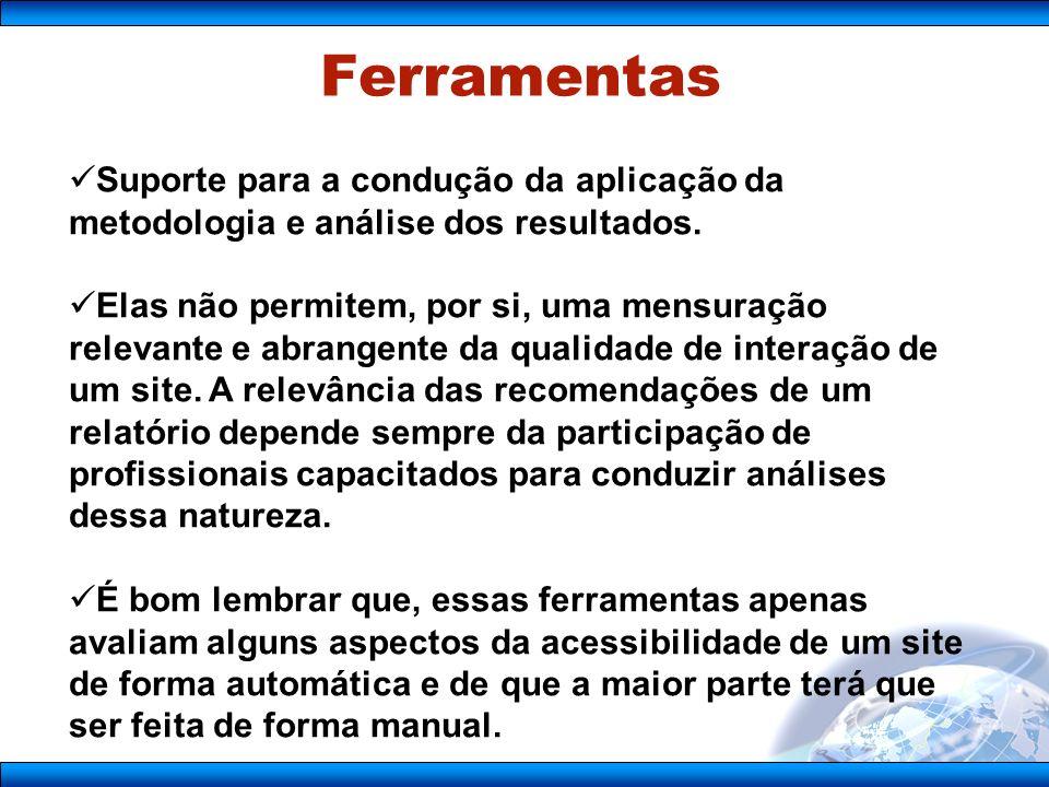 Ferramentas Suporte para a condução da aplicação da metodologia e análise dos resultados.