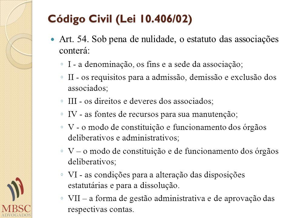 Código Civil (Lei 10.406/02)Art. 54. Sob pena de nulidade, o estatuto das associações conterá: I - a denominação, os fins e a sede da associação;
