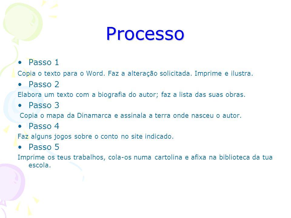 Processo Passo 1 Passo 2 Passo 3 Passo 4 Passo 5
