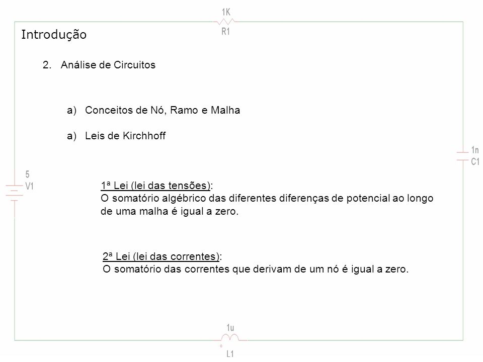 Introdução Análise de Circuitos Conceitos de Nó, Ramo e Malha