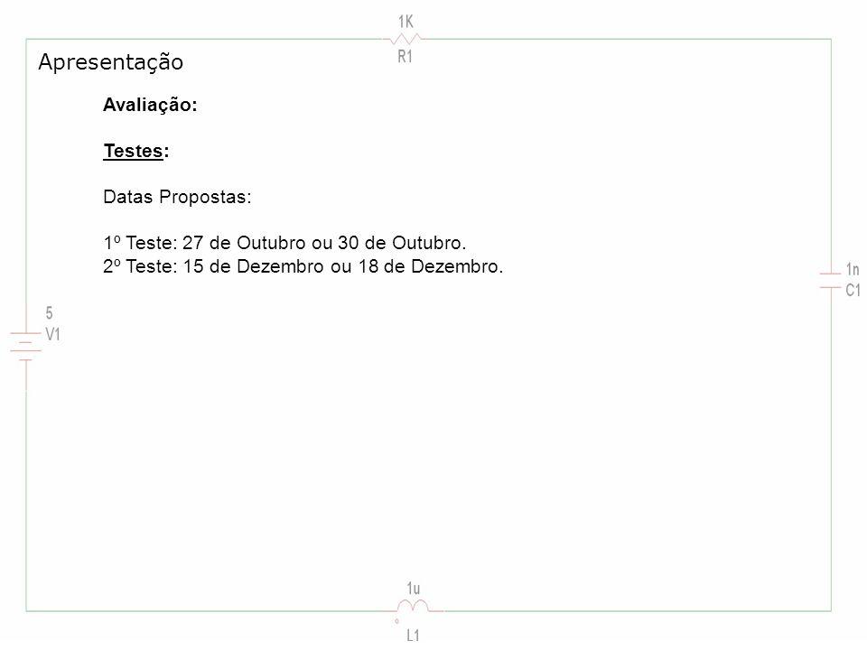 Apresentação Avaliação: Testes: Datas Propostas: