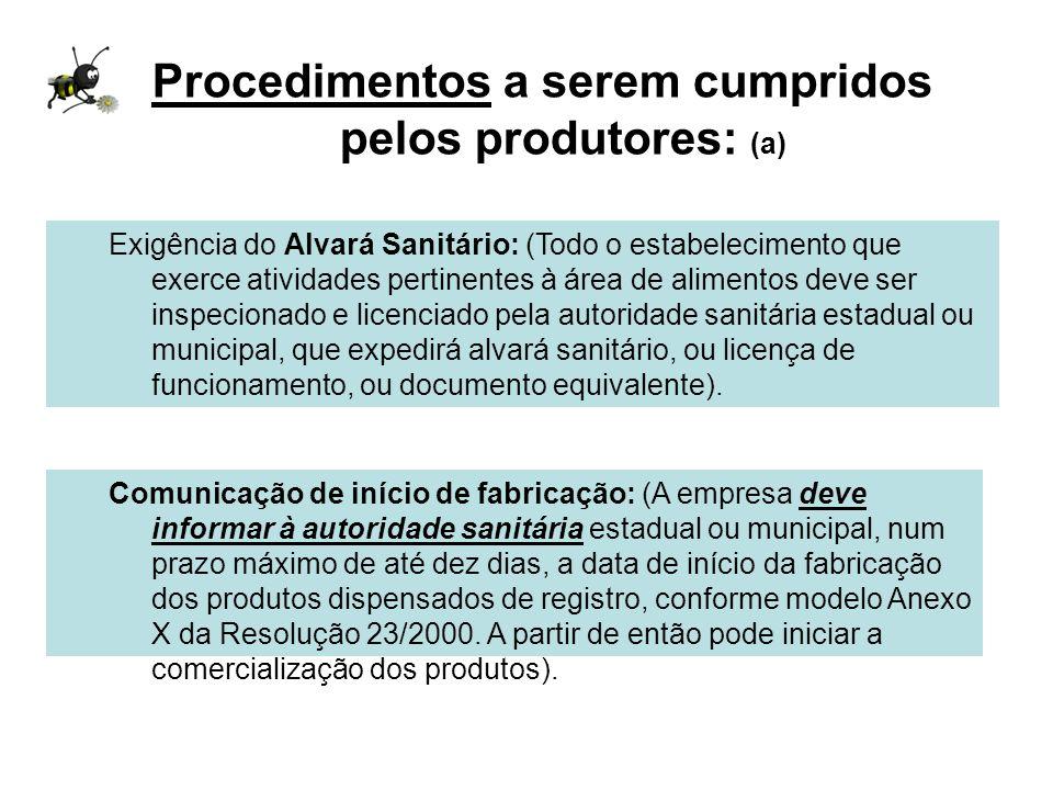 Procedimentos a serem cumpridos pelos produtores: (a)