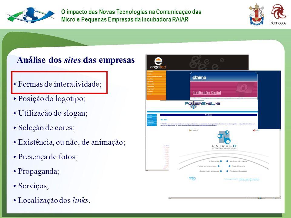 Análise dos sites das empresas