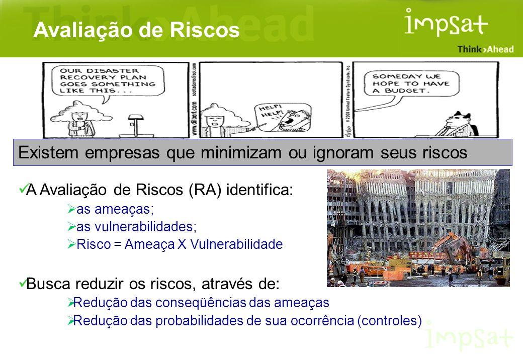 Avaliação de Riscos Existem empresas que minimizam ou ignoram seus riscos. A Avaliação de Riscos (RA) identifica: