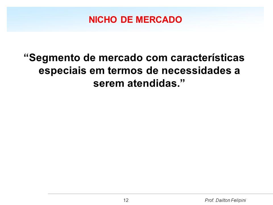 NICHO DE MERCADO Segmento de mercado com características especiais em termos de necessidades a serem atendidas.