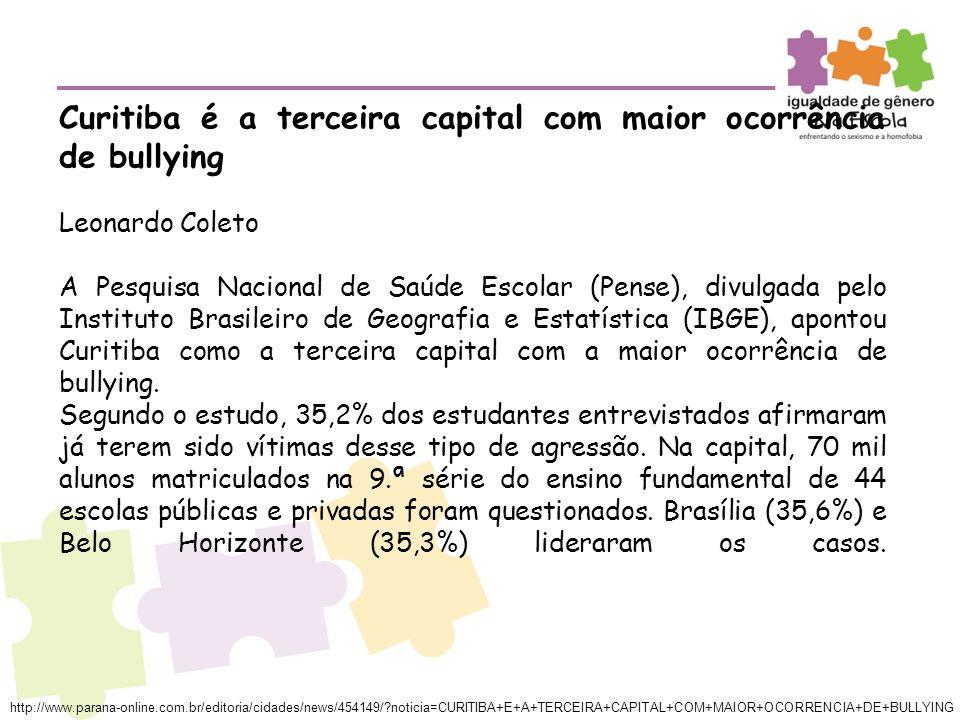 Curitiba é a terceira capital com maior ocorrência de bullying