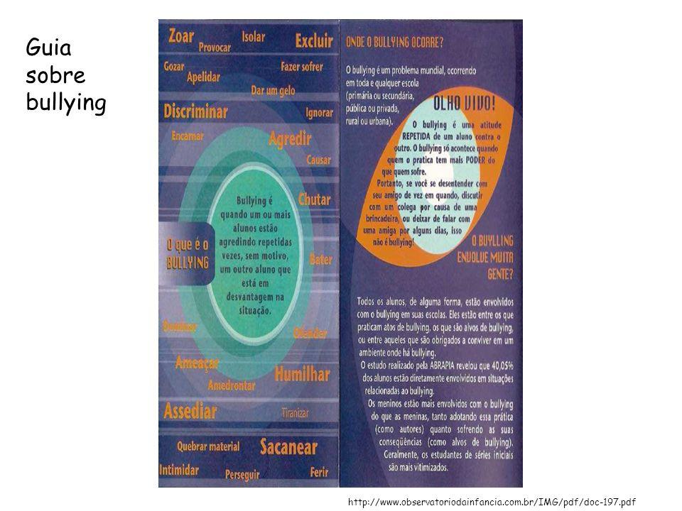 Guia sobre bullying http://www.observatoriodainfancia.com.br/IMG/pdf/doc-197.pdf