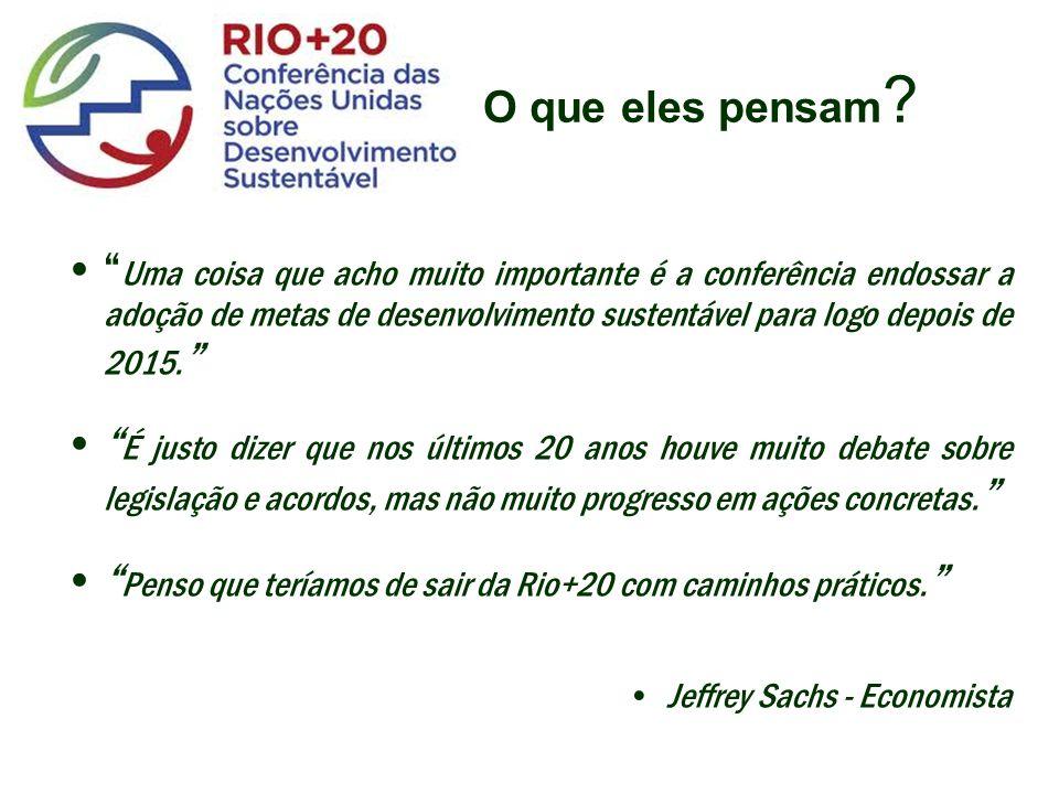 Penso que teríamos de sair da Rio+20 com caminhos práticos.