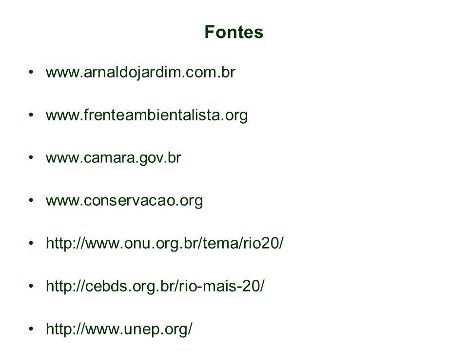 Fontes www.arnaldojardim.com.br www.frenteambientalista.org